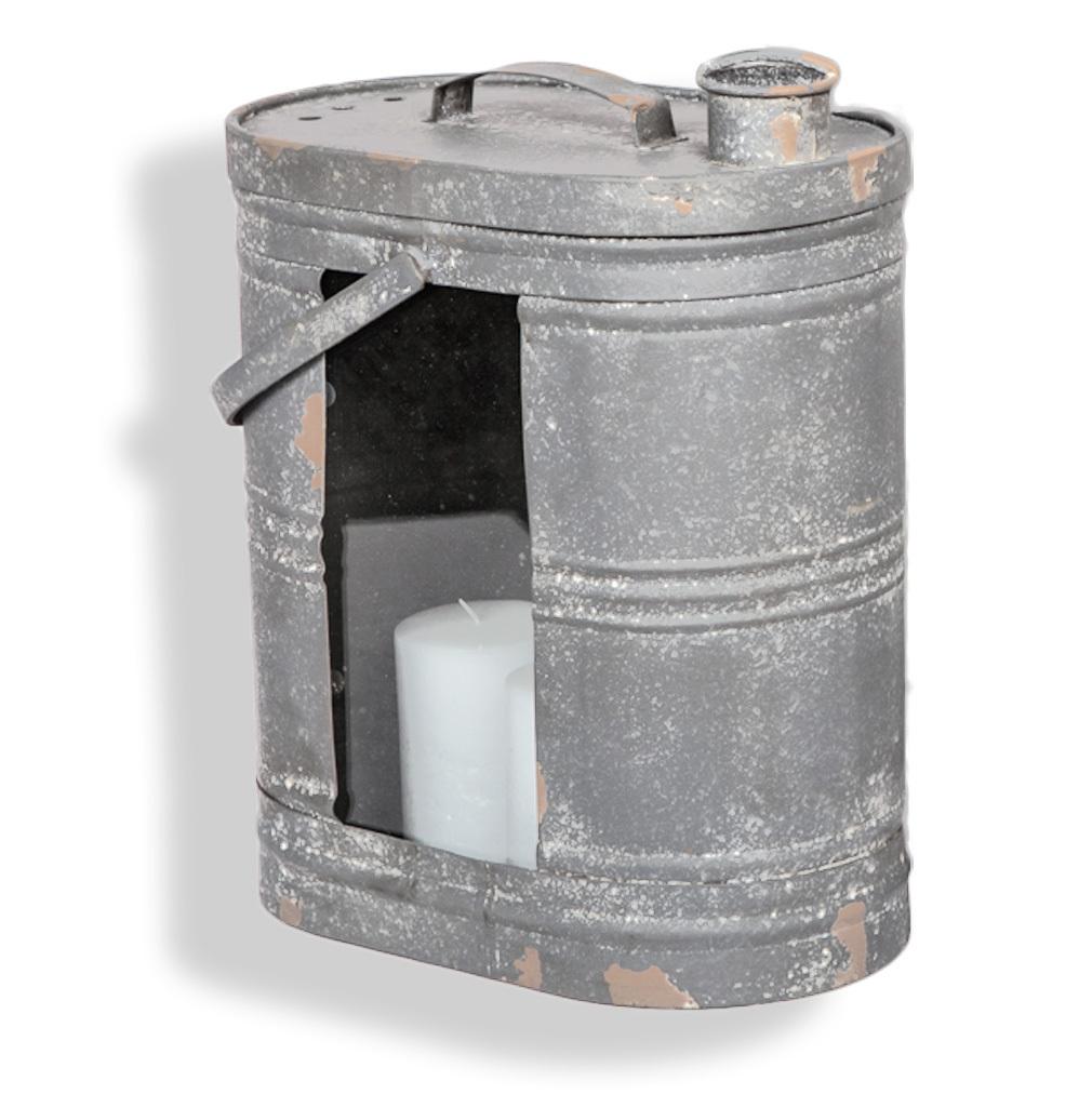 Laterne Kanister Behälter XXL Shabby-Stil Windlicht Metall Glas Gartendeko Kerze grau Rost.