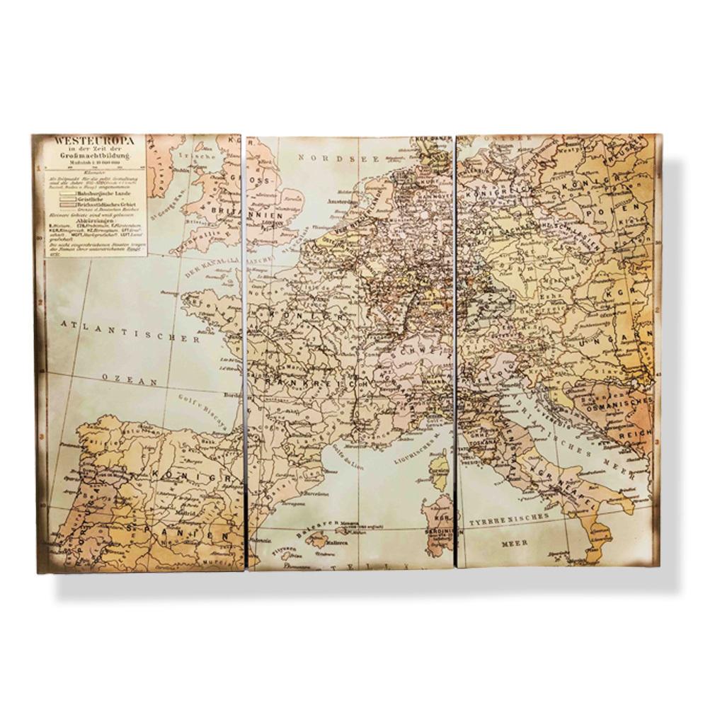 Wandkarte XXL 3teilig Antik Stil Welt Weltkarte Vintage Historisch Holz Wandbild.