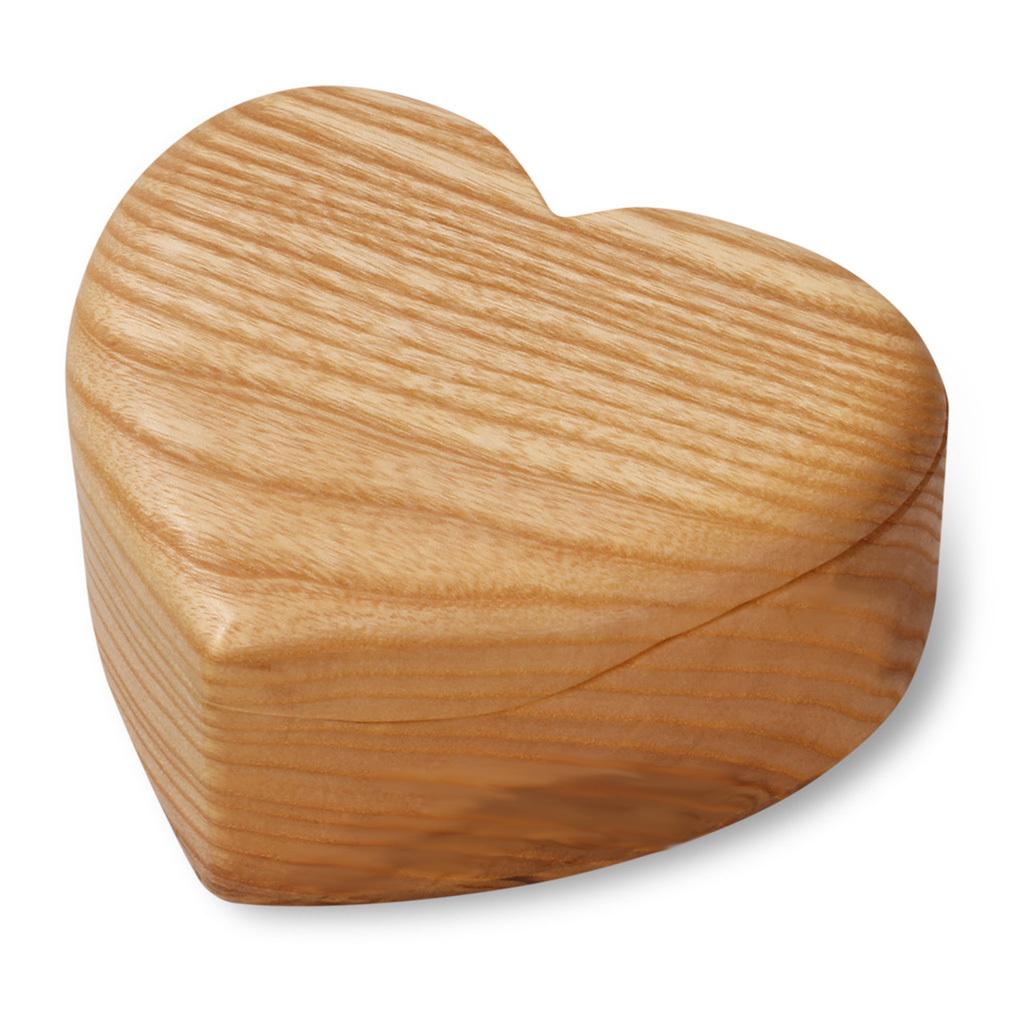Herzdose aus Laub-Holz geölt natur mit Deckel Schmuckdose Herz