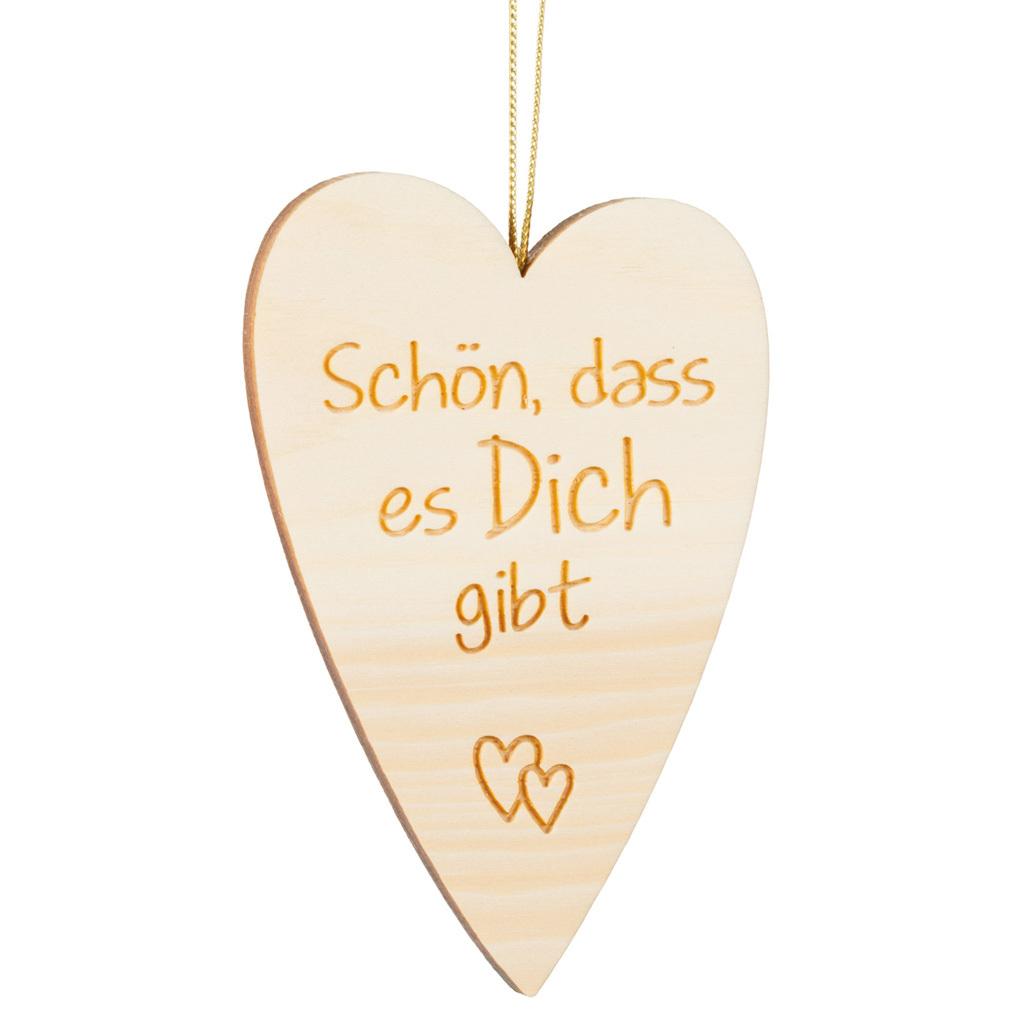 Holzherz Zirbenholz + Lasergravur Holz Herz-Hänger Valentinstag Liebe
