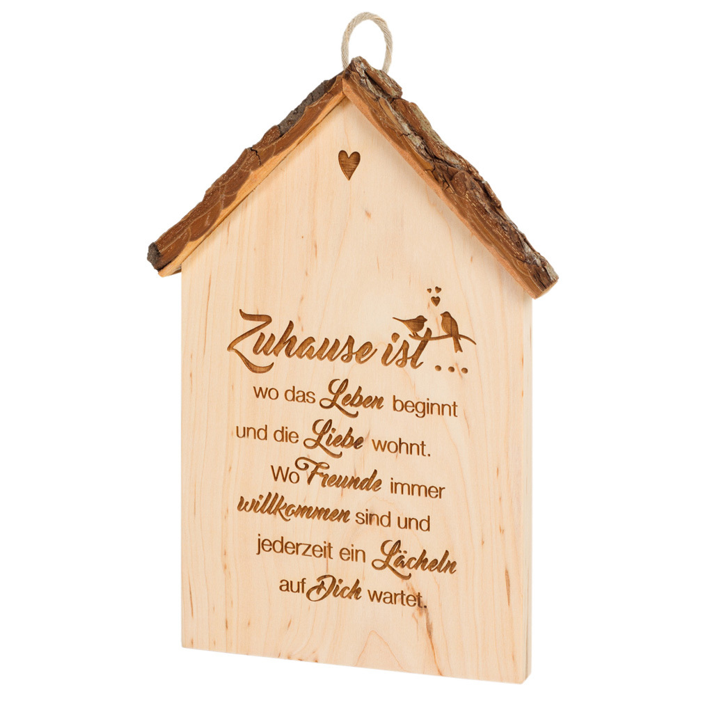 Holz-Tafel Haus + Lasergravur Liebe Holz-Hänger Dekoration Holzhaus