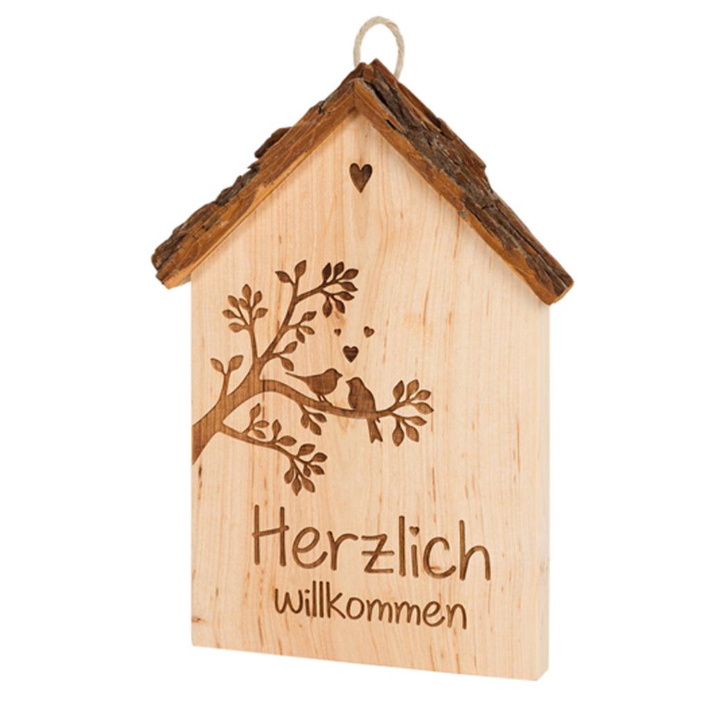 Holz-Tafel Haus + Lasergravur Holz-Hänger Liebe Dekoration Holzhaus