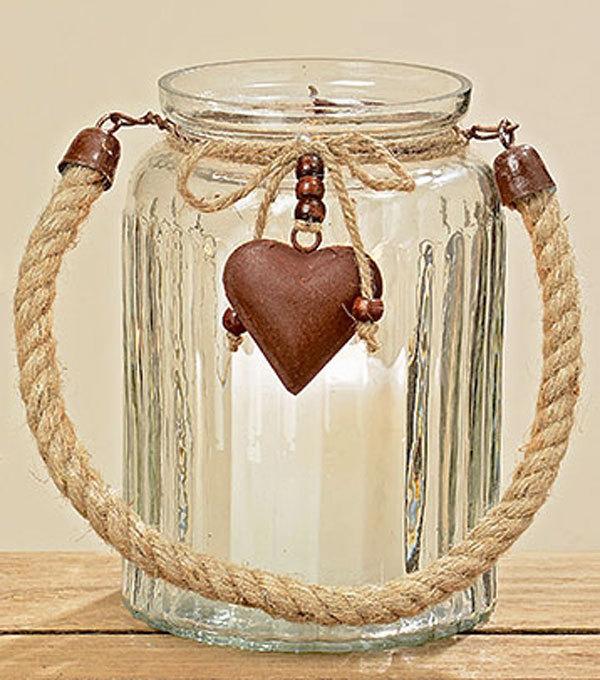 Windlicht aus Glas mit Herz in Rostoptik Teelichthalter mit Metallherz Kerze